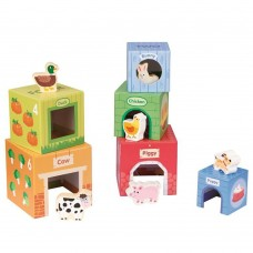 Lelin Toys Kартонени кубчета за най-малките с дървени животни