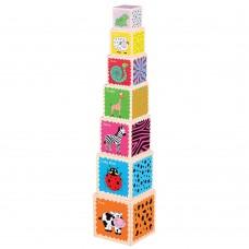 Lelin Toys Кула от дървени кубчета