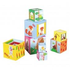Lelin Toys Кула от картонени кубчета за най-малките, Весели животни