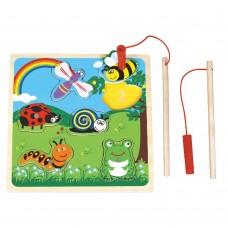 Lelin Toys Дървена магнитна игра-пъзел На лов за буболечки