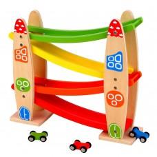 Lelin Toys Дървена писта с колички Ракета