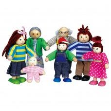 Lelin Toys Комплект дървени кукли Голямото семейство