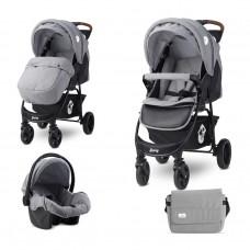 Lorelli Baby Combi Stroller Daisy Set, Cool grey