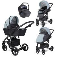 Lorelli Baby stroller Rimini Premuim, silver blue stars