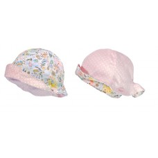 Maximo Baby summer hat, pink dots and flowers