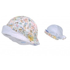 Maximo Baby summer hat, blue dots and flowers