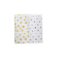 Motherhood Premium Cotton Muslin Wraps 100x120cm Mustard Splashes