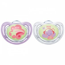 NUK Freestyle Nights Luminous Silicone Soothers 0-6 m 2 pcs