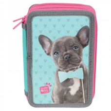 PASO School pencil case with three zippers Grey Puppy