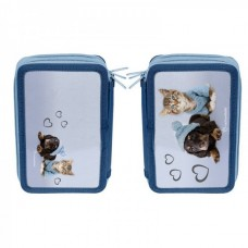 PASO School pencil case with three zippers Little Pets