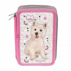PASO School pencil case with three zippers Puppy