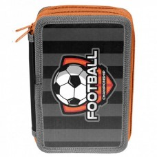 PASO School pencil case with three zippers Football