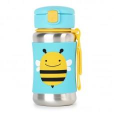 Skip * Hop Zoo Stainless Steel Little Kid Straw Bottle, Bee