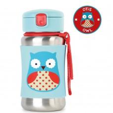 Skip * Hop Zoo Stainless Steel Little Kid Straw Bottle, Owl