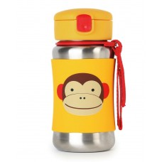 Skip * Hop Zoo Stainless Steel Little Kid Straw Bottle, Monkey