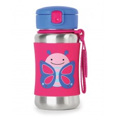 Skip * Hop Zoo Stainless Steel Little Kid Straw Bottle, Butterfly