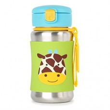Skip * Hop Zoo Stainless Steel Little Kid Straw Bottle, Giraffe