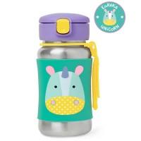 Skip * Hop Zoo Stainless Steel Little Kid Straw Bottle, Unicorn