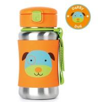 Skip * Hop Zoo Stainless Steel Little Kid Straw Bottle, Dog
