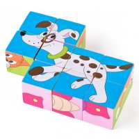 Woody Picture cubes – colourful animals, 9 pcs