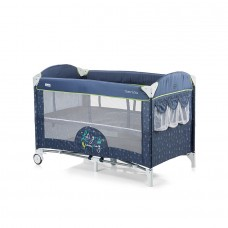 Chipolino Baby Play pen and crib with drop side Merida blue indigo