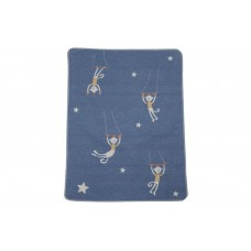 David Fussenegger Бебешко одеяло Juwel 70x90 Циркови маймунки, синьо