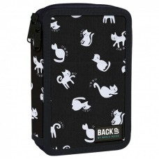 Back Up 2-layer Pencil Case with supplies DW 34 Black Cats