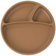 Minikoioi Silicone Baby Plate Portions Woody Brown