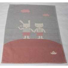 David Fussenegger Lena Cot Blanket, Organic Cotton Friends Pink
