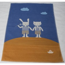 David Fussenegger Lena Cot Blanket, Organic Cotton Friends Blue