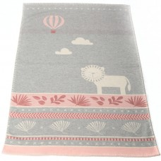 David Fussenegger Lena Cot Blanket, Organic Cotton Lion Pink