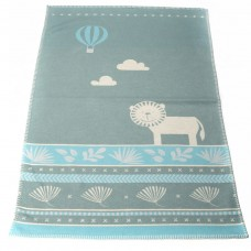 David Fussenegger Lena Cot Blanket, Organic Cotton Lion Blue