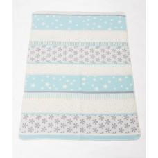 David Fussenegger Maja Organic Cotton Baby Blanket Snowflakes Blue