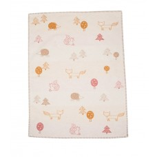 David Fussenegger Lena Cot Blanket, Organic Cotton Forest animals, Ecru