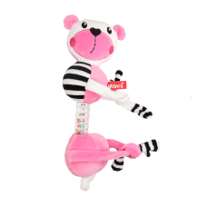 Mom's care Мека играчка-дрънкалка за количка с връзки Розово мече