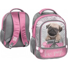 PASO School Backpack Studio Pets Love Pugs