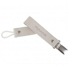 Minikoioi Leather Pacifier Clip, Cloudy White