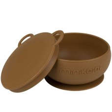 Minikoioi Silicone Baby Bowl with Lid Bowly Woody Brown