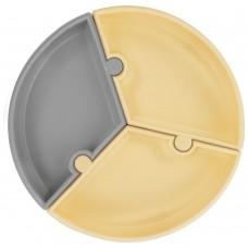 Minikoioi Silicone Baby Plate Puzzle Yellow - Grey