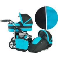 Baby Merc Бебешка количка Q9 2 в 1 с кош Черно и тюркоаз