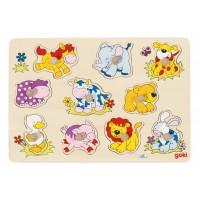 Goki Пъзел с дръжки - бебета животни Puzzles Baby Animals