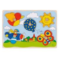 Goki Пъзел с дръжки - балон слънце Puzzles Balloon Sun