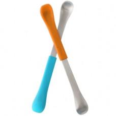 Boon Swap двойни лъжички с мек и твърд край 2 броя, Оранжева и Синя
