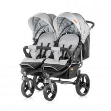 Chipolino Бебешка количка за близнаци Туикс пепел