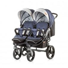 Chipolino Бебешка количка за близнаци Туикс сини дънки