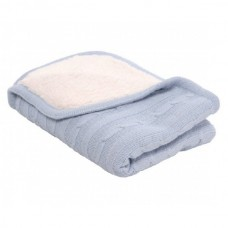 Kikka Boo Плетено бебешко одеяло с шерпа синьо