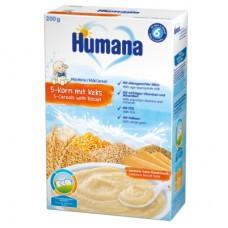 Humana Млечна каша с 5 зърна с бисквитка