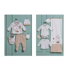 Caramell baby Комплект за изписване 10 части Органичен памук, Бежово с бяло