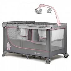 KinderKraft Сгъваема Бебешка кошара с аксесоари Joy full розова