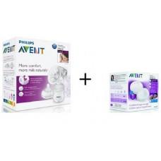 Philips Avent Ръчна помпа за изцеждане Comfort  + 20бр. нощни подплънки
